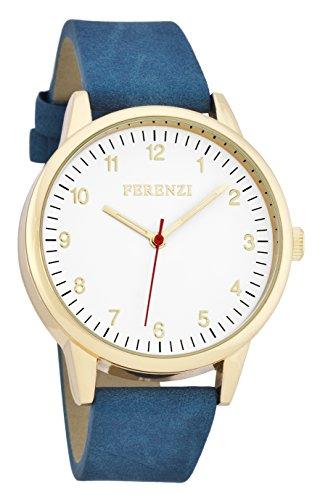 ferenzi Herren Armbanduhr Classic Gold mit blauen Wildleder Band und rot Hand fz16702