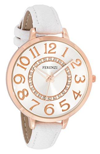 ferenzi Frauen Rosa Armbanduhr Gold mit Zifferblatt Silber verziert und Armband Slim Weiss fz17703