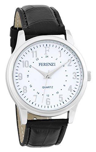 ferenzi Maenner s Classic 24 Stunden weiss schwarz Alligator Stil Band Silber Armbanduhr fz16001