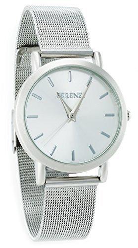 ferenzi Unisex Classic silber Face Armbanduhr mit modernen Silber Edelstahl Mesh Band fz15101