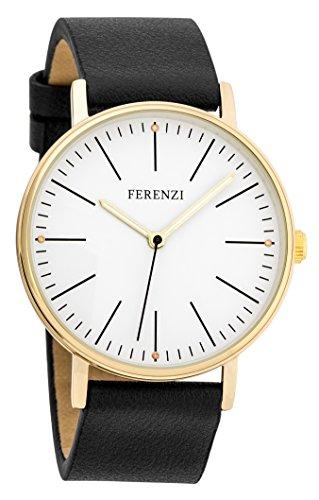 ferenzi Damen zeigt Classic Minimalist Gold Gehaeuse Slim mit Armband schwarz fz17204