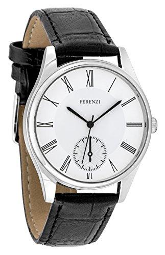 ferenzi Maenner zeigt Classic silber mit roemischen Zahlen mit Armband schwarz fz17401