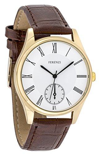 ferenzi Herren Classic Casual roemischen Zahl gold Armbanduhr mit Braun PU Croc Leder fz17404
