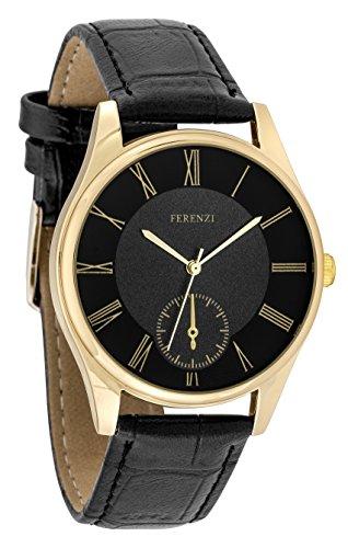 ferenzi Herren Classic Casual roemischen Zahl schwarz Face Armbanduhr mit schwarz PU Croc Leder Armbanduhr fz17403