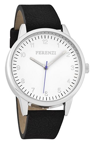 Ferenzi Mens Classic Silver Tone Black Faux Leather Watch FZ16703