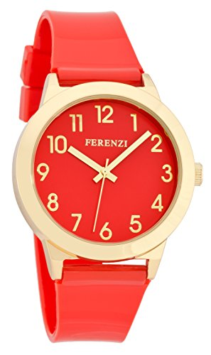 ferenzi Damen Armbanduhr Fun rot auf Rot mit goldfarbenen Fall und Glanz Gurt fz15604