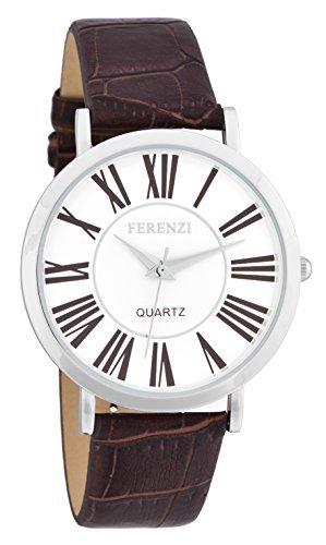 Ferenzi Damen Armbanduhr 35mm Armband Synthetikleder Braun Gehaeuse Metall Quarz Zifferblatt Weiss FZ16202