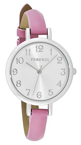 ferenzi Damen Classy gross weiss Face Armbanduhr mit duenn Rose Band fz15508