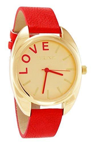 ferenzi Damen Elegante Gold Tone Fall Love Uhr mit Rot Band fz15402