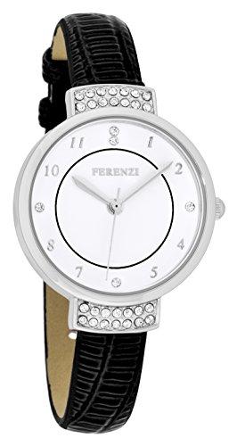 ferenzi Damen Elegante Strass Uhr mit Schwarz Croc Band fz16501