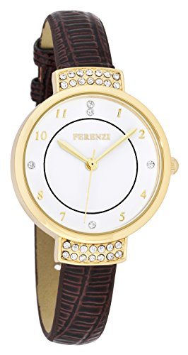 ferenzi Damen Elegante Strass Uhr mit Braun Croc Band fz16502