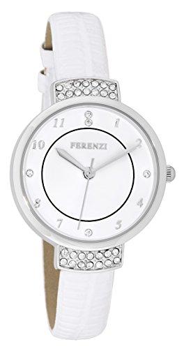 ferenzi Damen Elegante Strass Uhr mit Weiss Croc Band fz16503