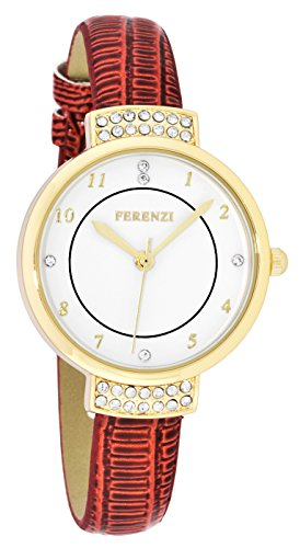 ferenzi Damen Elegante Uhr mit Strass Rot Croc Band fz16504
