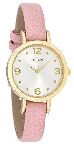 ferenzi Damen Chic Feminine klein gold Watch mit Soft Pink Duenn PU Leder Band fz17304