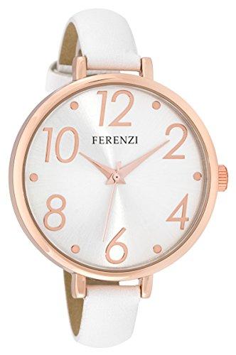 ferenzi Damen gross modern Easy Lesen Silber Face duenn weiss Band Rose Gold Watch fz16105