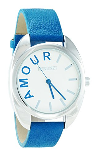 ferenzi Damen Moderne Silber Ton Fall Amour Uhr mit Blau Band fz15401