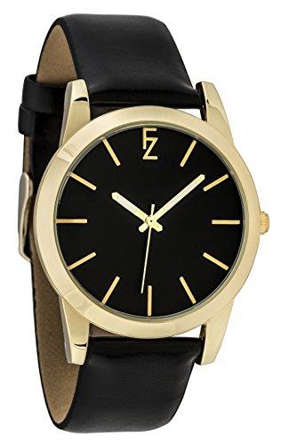 ferenzi Frauen zeigt einfach minimalistisch Silber mit schwarzem Armband und Zifferblatt noir fz17504