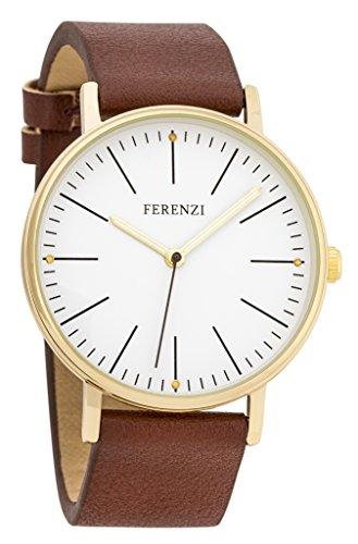 ferenzi Damen Fashion Minimalist Gold Armbanduhr mit dunkelbraun PU Leder fz17204
