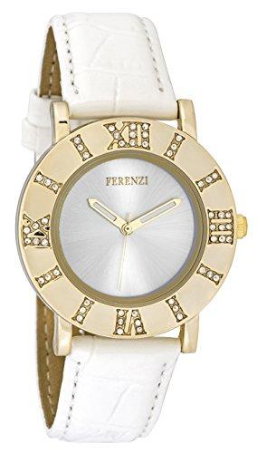 ferenzi Damen Retro Fashion Strass Raffrollo whitenumber Gold Watch mit glaenzend Croc Strap fz17802