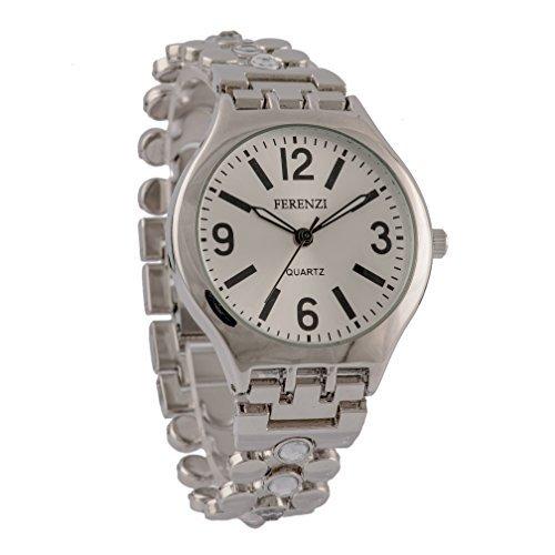 ferenzi Damen Classy Silber Gesicht und Kristall Nieten Kette Link Armband Armbanduhr fz12001