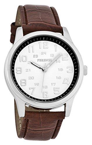 ferenzi Herren Classic Rose Gold Uhr mit Braun Croc Band fz16904