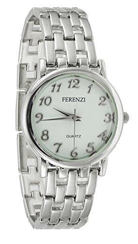 ferenzi Herren Classic Casual Silber Edelstahl Uhr mit Easy Reader weiss Zifferblatt ha0457