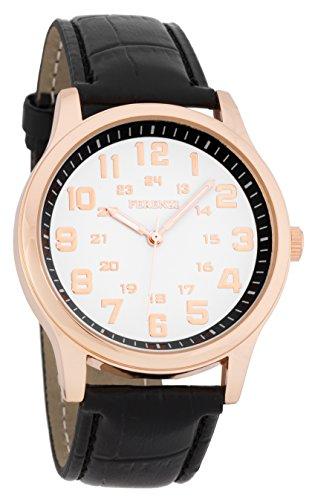 ferenzi Herren Classic Rose Gold Watch mit Mahagoni Croc Band fz16903