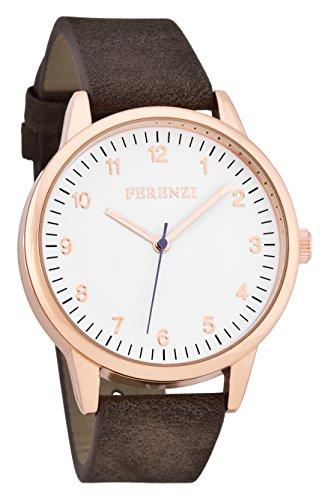 ferenzi Herren Classic Rose Gold Uhr mit Braun Wildleder Band und lila Hand fz16704