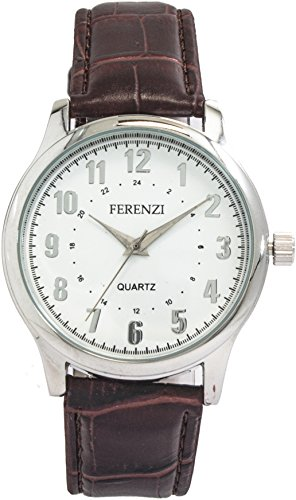 ferenzi Herren Krokodil Muster Braun Band Armbanduhr fz14001