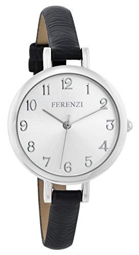 Ferenzi klassisch gross mit silbernem Ziffernblatt mit duennem schwarzem Band FZ15502