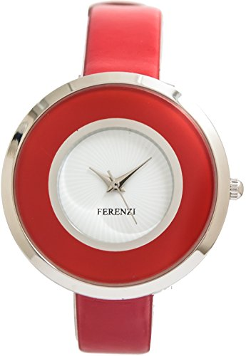 ferenzi Damen Damen Mieder Double Einzigartige Retro Rot Armbanduhr fz13703