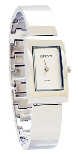ferenzi Damen modernes silberfarbenes Solide Link Armband Armbanduhr ha0302