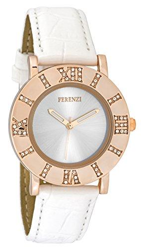 ferenzi Frauen zeigt Retro Rosa Gold mit roemischen Zahl aus Kristallen auf Gehaeuse und Armband Lack Leder weiss fz17803
