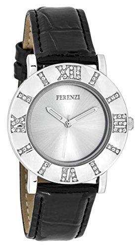 ferenzi Frauen zeigt Retro Silber mit roemischen Zahl aus Kristallen auf Gehaeuse und Armband Lack Leder Schwarz fz17801
