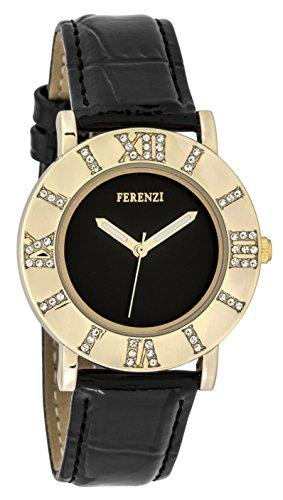 ferenzi Frauen zeigt Retro Gold mit roemischen Zahl aus Kristallen auf Gehaeuse Zifferblatt schwarz und Armband Lack Leder Schwarz fz17804