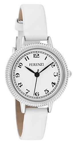 ferenzi Damen klein silber Classic weiss auf weiss Uhr mit PU Leder Band fz15904