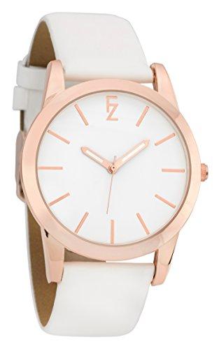 ferenzi Damen Simple Casual minimalistischen Rose Gold Armbanduhr mit weiss glatt PU Leder Strap fz17503