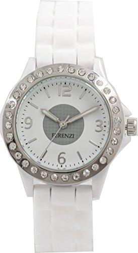 ferenzi Damen Stylisch Weiss Freund Stil Armbanduhr mit Kristall besetzt Luenette fz13301