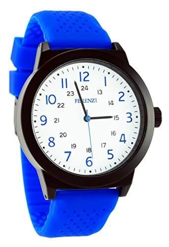 ferenzi Herren | gross weiss 24h Face blau Silicon Band Sport Armbanduhr | fz15302