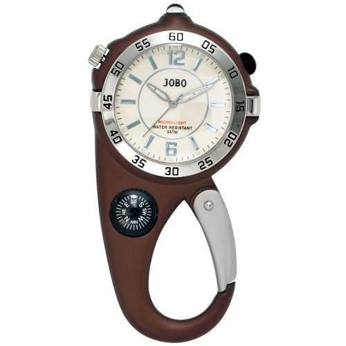 JOBO Guerteluhr braun Quarz Analog Mineralglas Lichtfunktion Kompass Karabiner