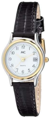 MC Timetrend Damen-Armbanduhr bicolor, mit schwarzem Lederband, Analog Quarz 17867