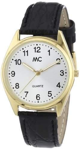 MC Timetrend Herren-Armbanduhr, goldfarben, mit schwarzem Lederband, Analog Quarz 23685
