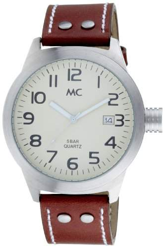 MC Herrenarmbanduhr Lederband 26033