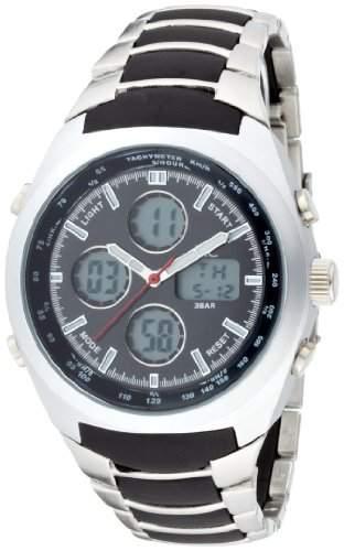 MC Timetrend Herren-Armbanduhr mit Alarm und Chrono-Funktion, Metallband mit Kunststoffeinlagen, Analog - Digital Quarz 26332