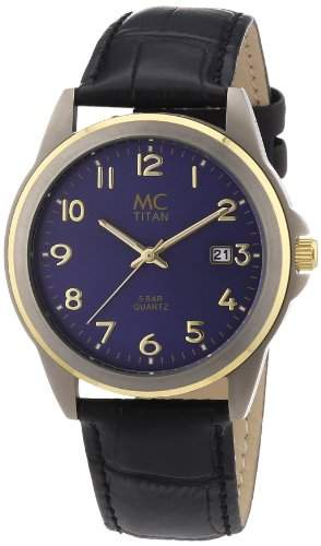 MC Timetrend Herren-Armbanduhr bicolor mit Titangehaeuse, Allergiker geeignet, schwarzes Lederband, Analog Quarz 26759