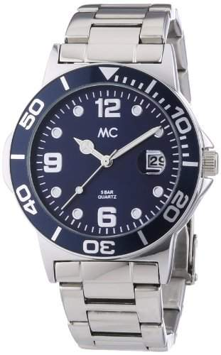 MC Timetrend Herren-Armbanduhr mit Metallband, Ziffernblatt Blau mit Datum, Analog Quarz 27464