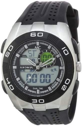 MC Timetrend sportliche Herren-Armbanduhr mit Analog und Digital Anzeige, schwarzes Kunststoffband, Quarz 34206
