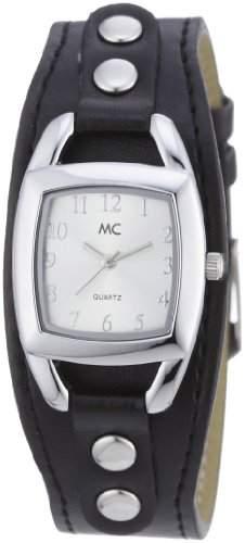 MC Timetrend Damen-Armbanduhr mit schwarzem Unterlegband Kunstleder Analog Quarz 50090