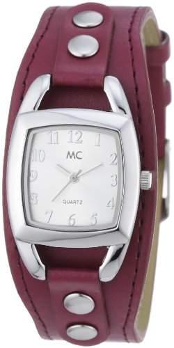 MC Timetrend Damen-Armbanduhr mit rotem Unterlegband, Analog Quarz 50091