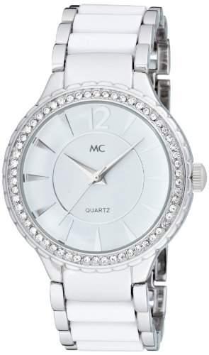 MC Timetrend Damen-Armbanduhr mit Kristallsteinen, Metallband mit weissen Lackeinlagen, Analog Quarz 50239